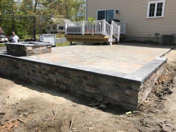 NH MA Raised Paver Patio Firepit