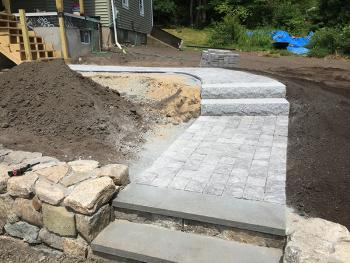 NH Front Walk Walkway Steps Stone Wall
