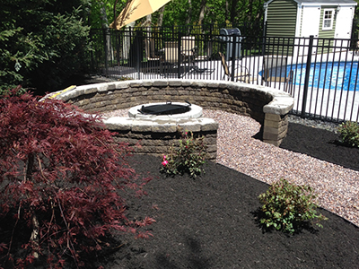 NH MA Firepit, Walk Paver Walkway Landscaping